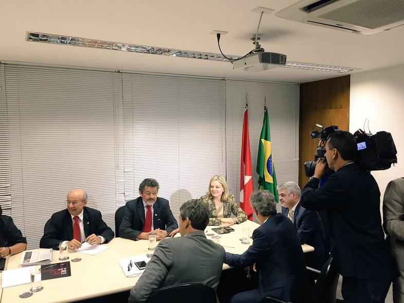 Reunião da bancada do PT no Senado que reconduziu Humberto à liderança do partido. Foto: Assessoria de Imprensa